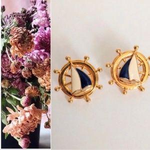 Vintage  Nautical ships wheel earrings